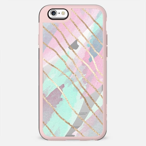 Girly Pink Teal Watercolor Brushstrokes Faux Gold Wiggly Stripes - New Standard Case