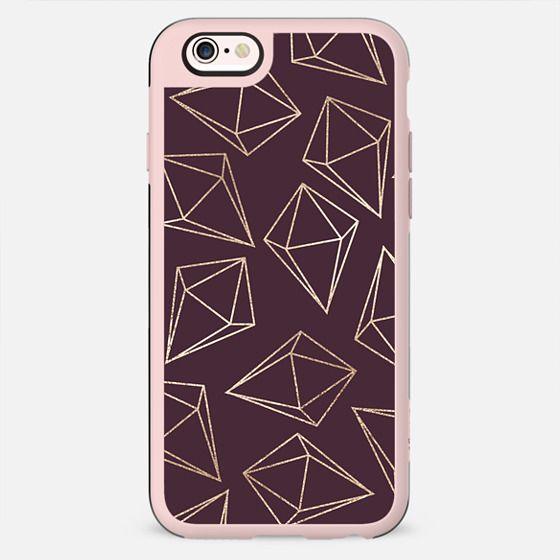 Glamorous Geometric Faux Gold Diamonds and Girly Purple