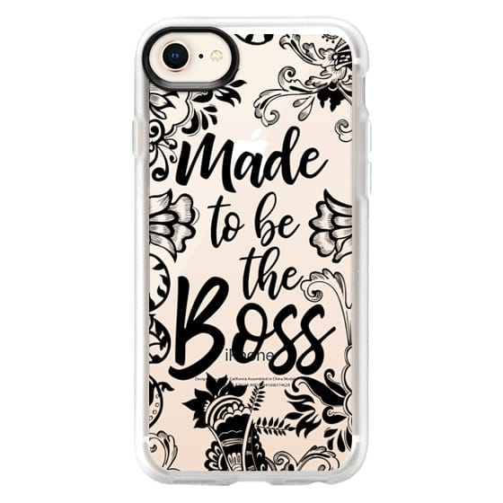 iPhone 8 Cases - Made to be the Boss Girly Black Floral Lace Typography Quote Clear