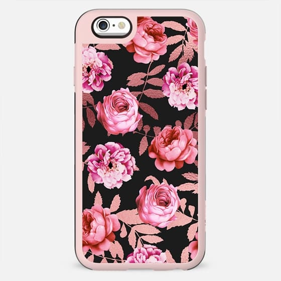 Girly Modern Blush Pink Flowers Faux Rose Gold Leaves Black - New Standard Case