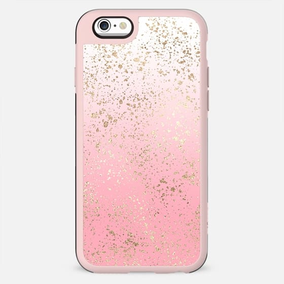 Girly Chic Faux Gold Flakes Pink Ombre Gradient White - New Standard Case