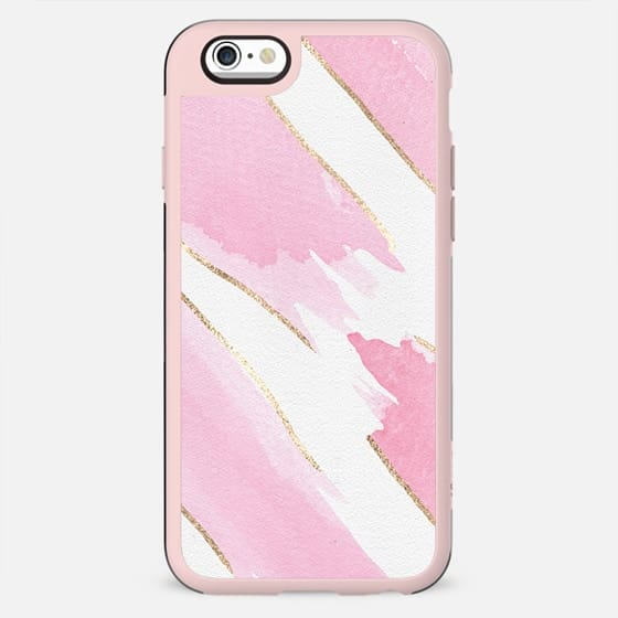 Girly Chic Pink Watercolor Giant Brushstrokes Faux Gold on Paper - New Standard Case