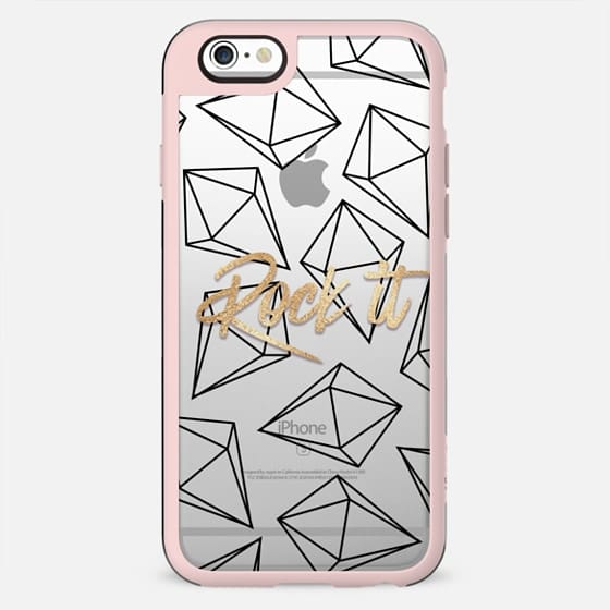Glamorous Faux Gold Rock It Typography and Black Diamonds - New Standard Case