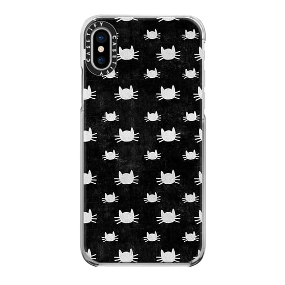 iPhone X Cases - Cat Pattern | Black