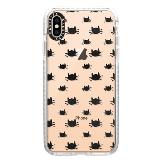 iPhone XS Max Cases - Cat Pattern | Transparent Black