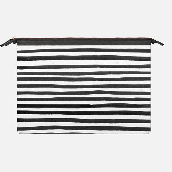 Ink Brush Stripes   Macbook - Saffiano Leather Sleeve