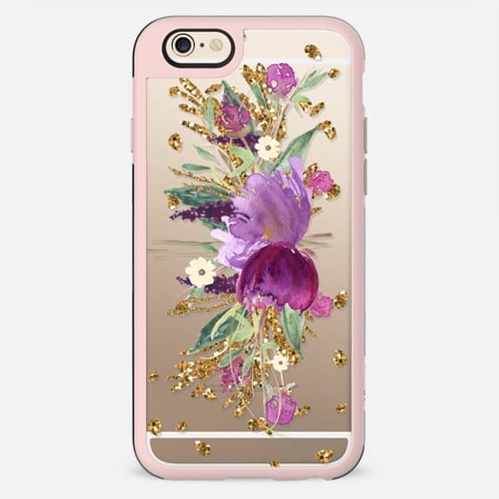 Purple and Gold Glitter Floral Transparent  - New Standard Case