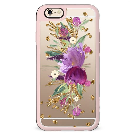 Purple and Gold Glitter Floral Transparent