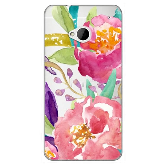 Htc One Cases - Watercolor Floral Transparent
