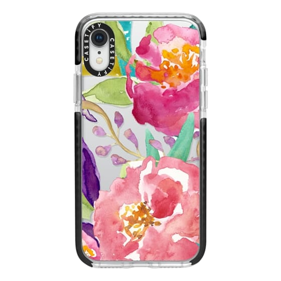 iPhone XR Cases - Watercolor Floral Transparent