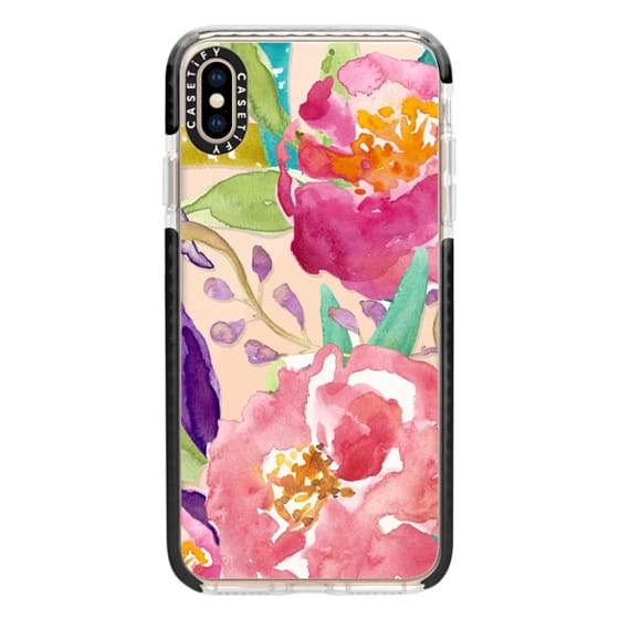 iPhone XS Max Cases - Watercolor Floral Transparent