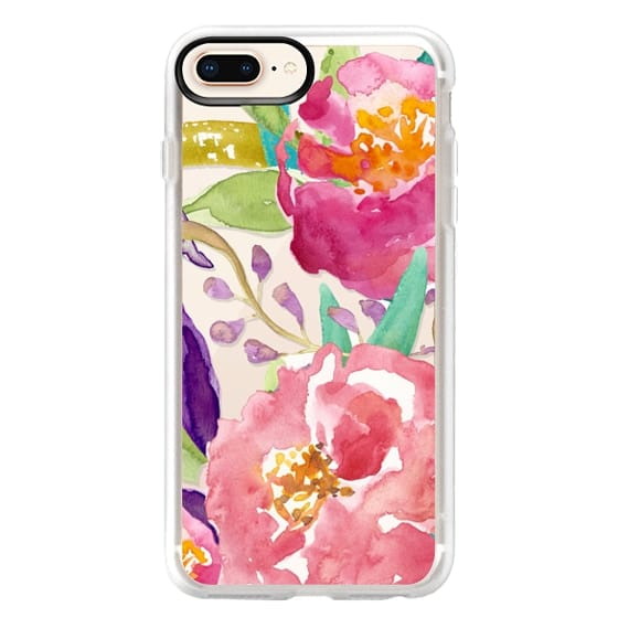 iPhone 8 Plus Cases - Watercolor Floral Transparent