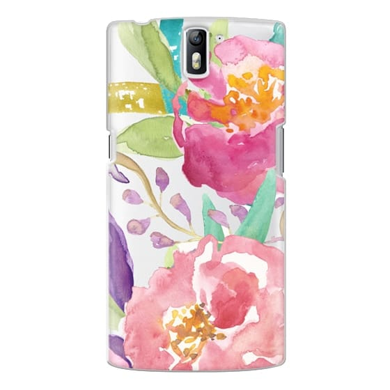 One Plus One Cases - Watercolor Floral Transparent