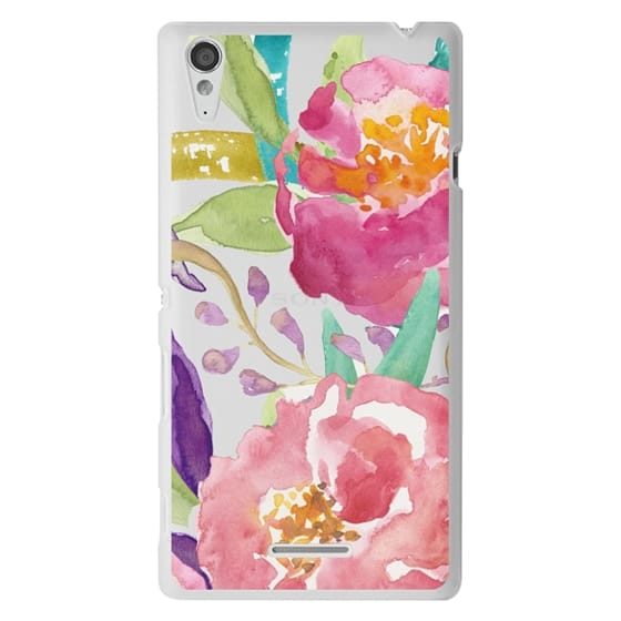 Sony T3 Cases - Watercolor Floral Transparent
