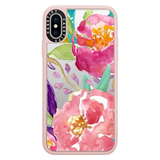 iPhone X Cases - Watercolor Floral Transparent