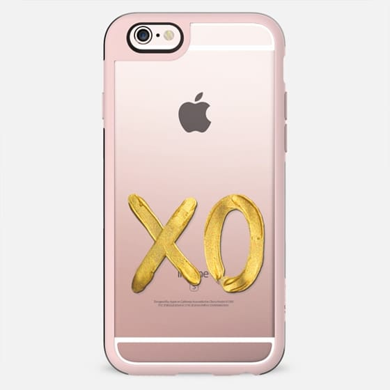 Gold XO - on shine through transparent  - New Standard Case