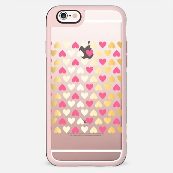 Faux Gold & Pink Hearts - on shine through transparent  - New Standard Case