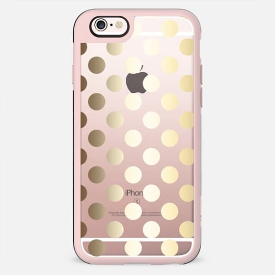 Faux Gold Polka Dots - on shine through transparent  - New Standard Case