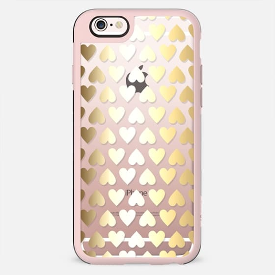 Faux Gold Hearts - on shine through transparent  - New Standard Case