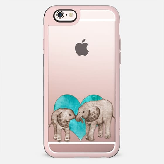 Baby Elephant Love - Sepia on Teal Transparent Case - New Standard Case