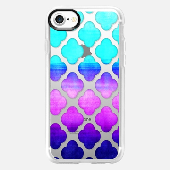 Cobalt Blue, Hot Pink & Mint Watercolor Moroccan Pattern on Clear - Wallet Case
