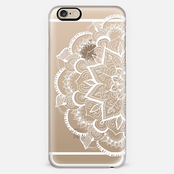 White Feather Mandala On Clear Iphone 6 Case By Tangerine