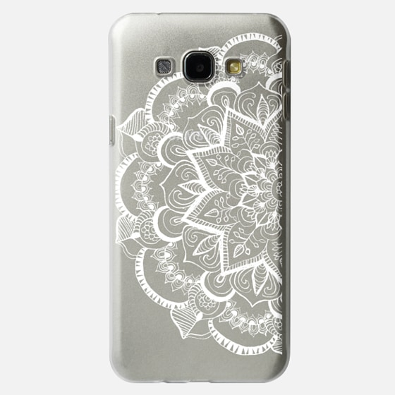 White Feather Mandala on Clear