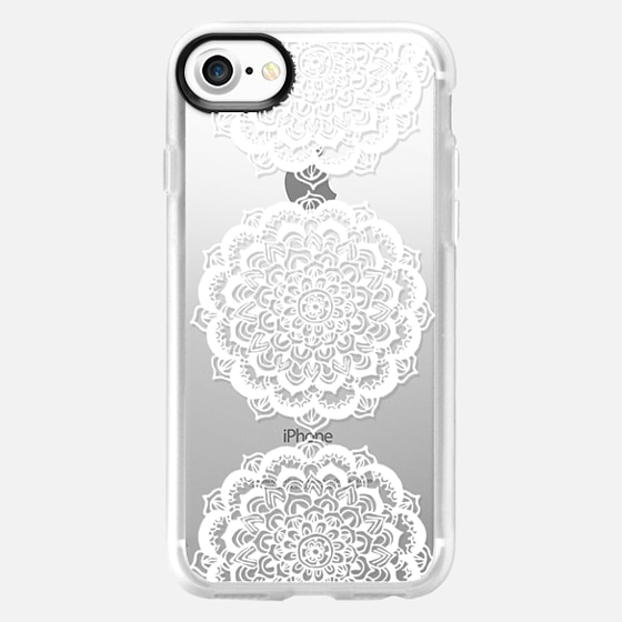 Three White Floral Lace Medallions on Clear - Wallet Case