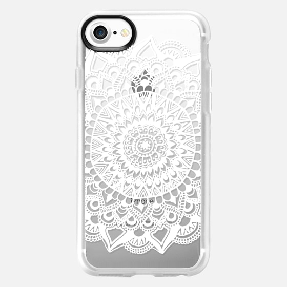 White Tribal Lace Mandala on Clear - Wallet Case