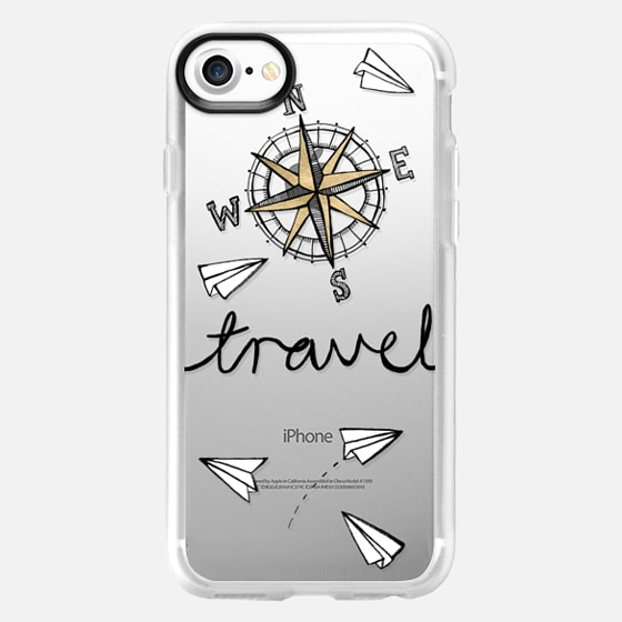 Travel + Compass + Paper Planes on Clear - Wallet Case
