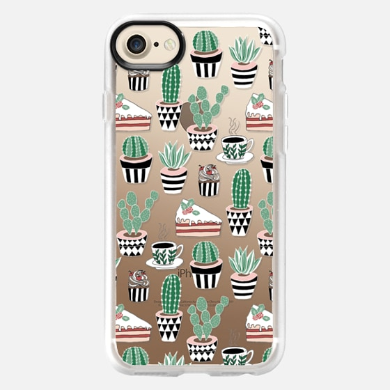 Cacti, Cake & Coffee on Clear - Classic Grip Case