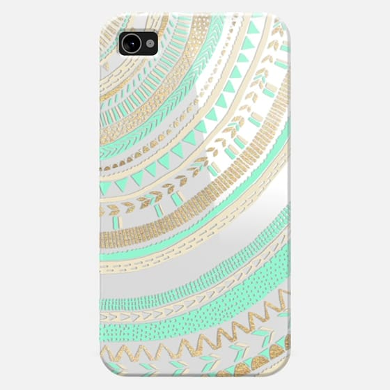Mint + Gold Tribal iPhone 4 - Snap Case