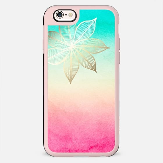 Gold Flower on Turquoise & Pink Watercolor - New Standard Case