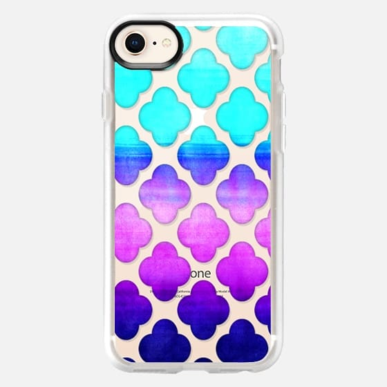Cobalt Blue, Hot Pink & Mint Watercolor Moroccan Pattern on Clear - Snap Case