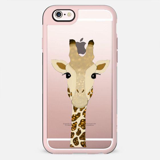 Golden Glitter Giraffe on Crystal Clear