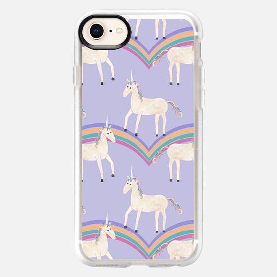 Unicorns & Rainbows on Pastel Purple - Snap Case