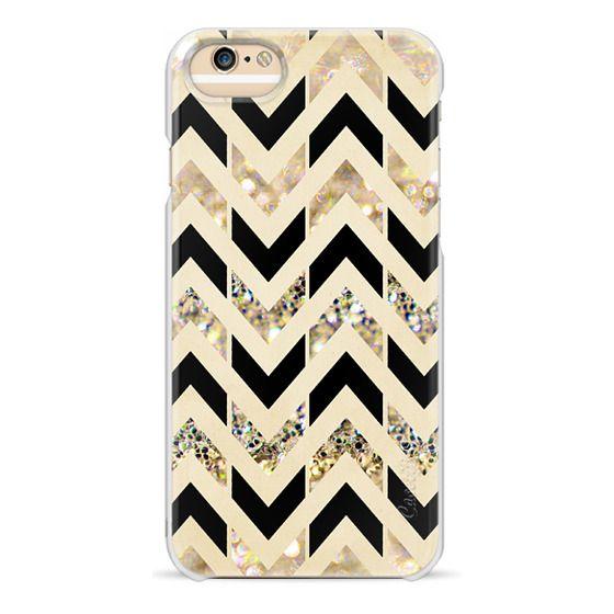 iPhone 6s Cases - Black & Gold Glitter Herringbone Chevron