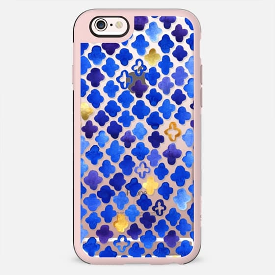 Rustic Watercolor Moroccan in Royal Blue & Gold on Clear