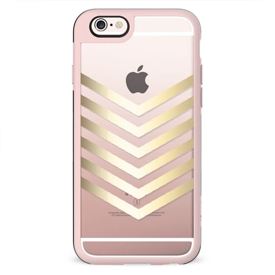 Faux Gold Chevron II on Crystal Clear