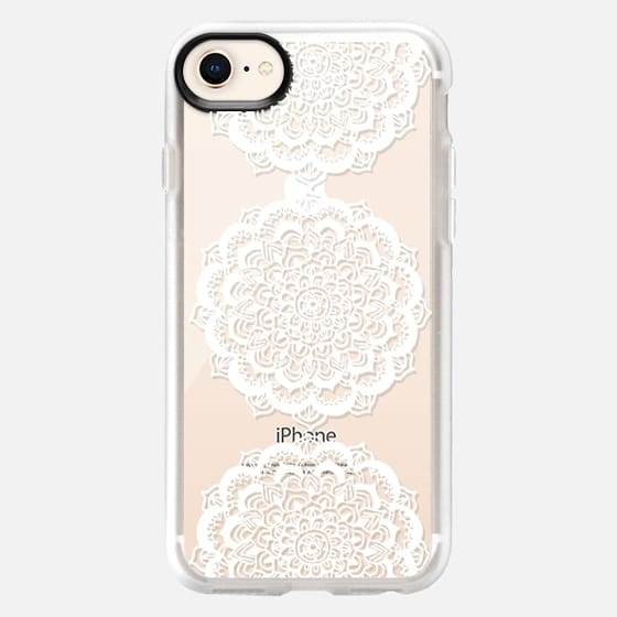 Three White Floral Lace Medallions on Clear - Snap Case