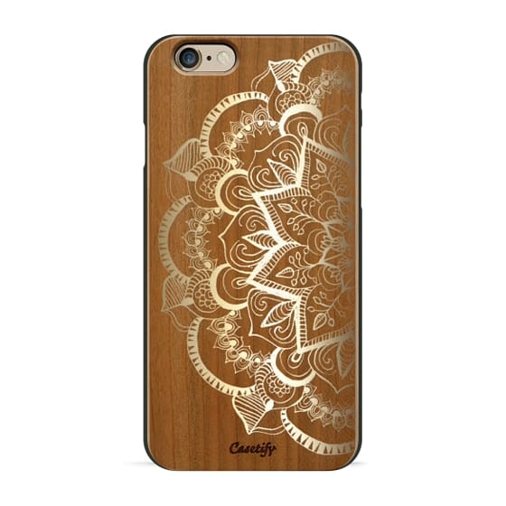 iPhone 6s Cases - Faux Gold Feather Mandala on Wood