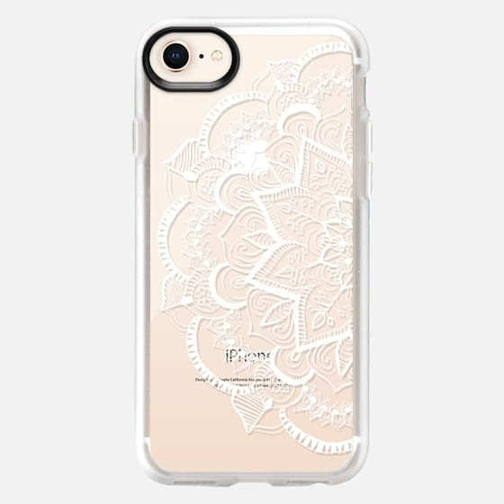White Feather Mandala on Clear - Snap Case