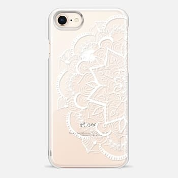 iPhone 8 Case White Feather Mandala on Clear