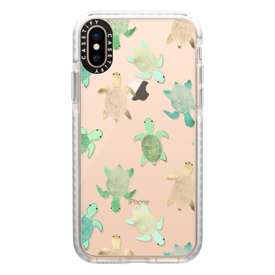 iPhone XS Cases - Turtles on Clear