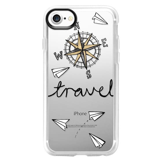 iPhone 7 Cases - Travel + Compass + Paper Planes on Clear