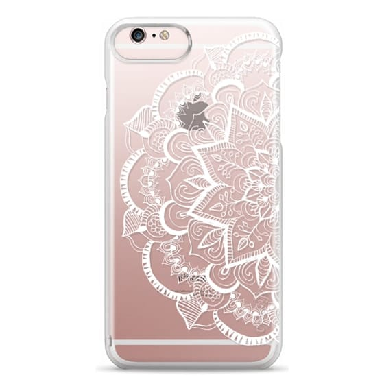 iPhone 6s Plus Cases - White Feather Mandala on Clear