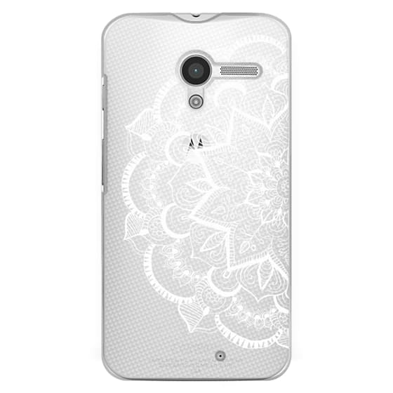 Moto X Cases - White Feather Mandala on Clear