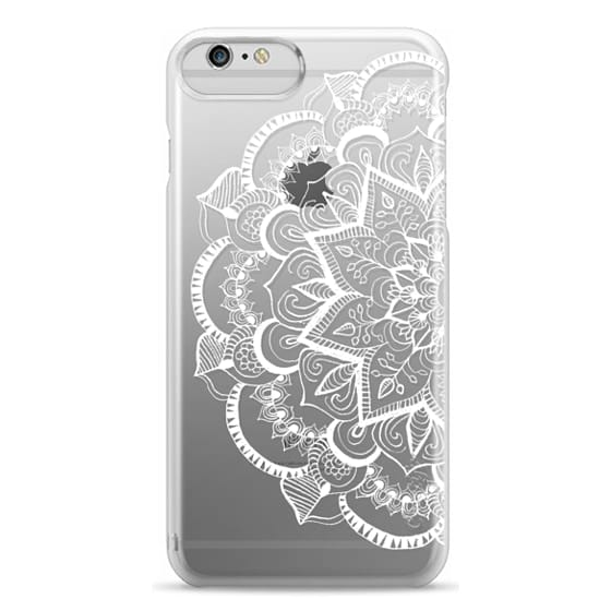 iPhone 6 Plus Cases - White Feather Mandala on Clear