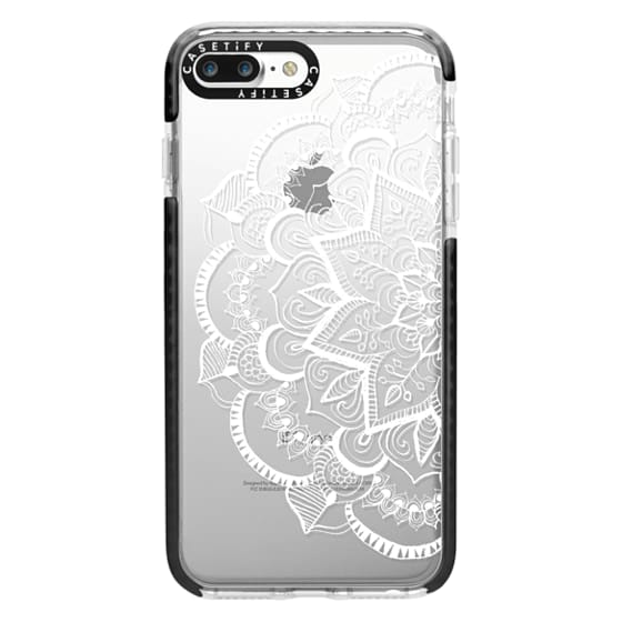 iPhone 7 Plus Cases - White Feather Mandala on Clear