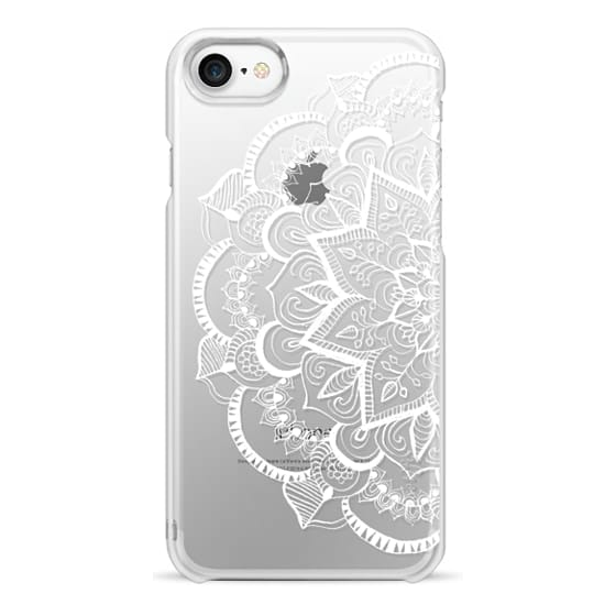 iPhone 7 Cases - White Feather Mandala on Clear
